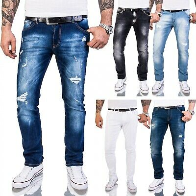 Rock Creek Herren Designer Jeans Slim Fit Hose Destroyed Look Denim W29-W40 M48