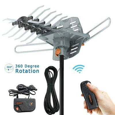200 Mile 1080P 4K HDTV Outdoor TV Antenna Motorized Amplified 36dB 360° Rotation