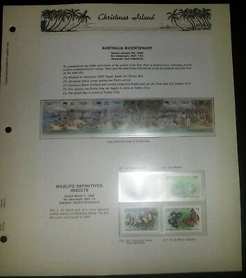 CHRISTMAS ISLAND - 159 MUH DECIMAL STAMPS with 66 SEVEN SEAS ALBUM PAGES