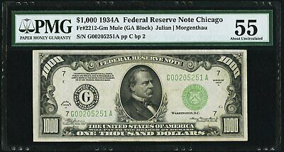 Fr. 2212-G $1,000 1934A Mule (GA) Federal Reserve Note PMG About Uncirculated 55