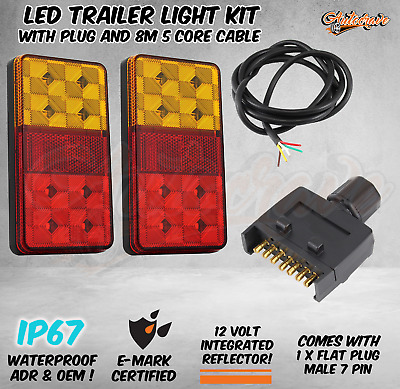 LED TRAILER TAIL LIGHT KIT PAIR PLUG 8m 5 CORE WIRE CARAVAN BOAT UTE Waterproof