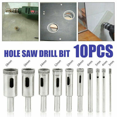 10pcs 3mm-18mm Diamond Tool Drill Bit Hole Saw Set for Glass Ceramic Marble Tile