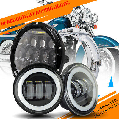 "7"" LED Hi-Lo Beam Headlight +Fog Lights For Harley Electra Glide Ultra Classic"