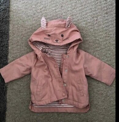 Baby Girls Pink Rabbit Lined Jacket From Matalan 0/3 Months Excellent Condition