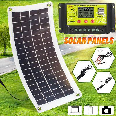 15-30W 5/12V Semi Portable DC Solar Panel + Controller For Phone RV Car Boat Hot