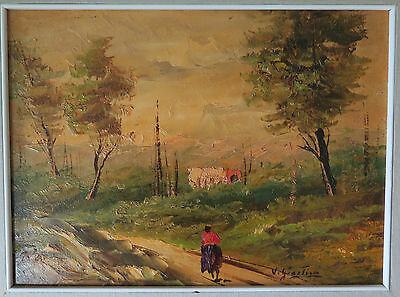 PAINTING VINTAGE OIL ON WOOD SIGNED GARCIA LANDSCAPE COUNTRYSIDE c5