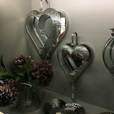 Ornate Metal Antique Silver Heart Wall Mirror Tea Light Holder Sconce Two Sizes