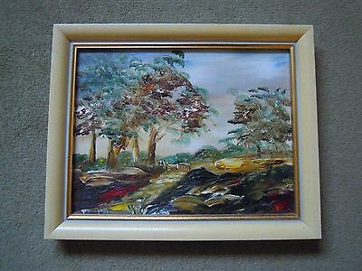 Oil Painting on Board. Impressionist Landscape. Signed Heuvelhorst.