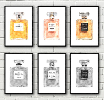 Original Watercolour Perfume Bottle Fashion Art Print Home Decor Living Room