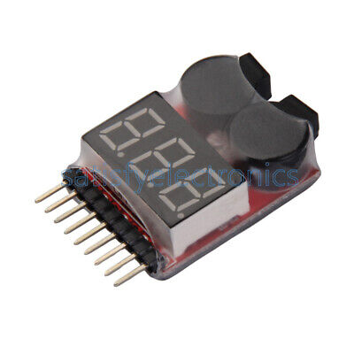 1//2//5//10PCS 1-8S Lipo Li-ion Battery 2 In1 Tester Low Voltage Buzzer Alarm