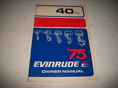 1975 Evinrude 40 Hp Models Outboard Owners Manual