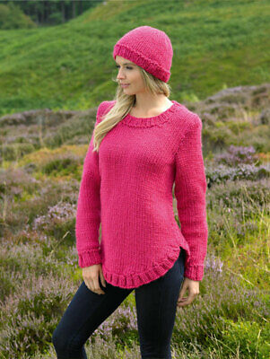 knit kit James Brett Sweater JK218 and Amazon Super Chunky, Deep Pink