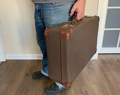 Vintage Hungarian Large Brown Suitcase with key   Storage Chest Steamer Trunk
