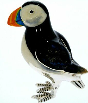 Sterling Silver & Enamel Large Puffin by Saturno Seabird Wildlife Figurine