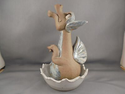 Hogenson Pottery 2001 Dragon Incense Burner 2-Part 7 3/8""