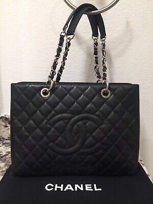 e9b262d95b8b CHANEL BLACK CAVIAR Grand Shopper Tote GST Bag - $2,250.00 | PicClick
