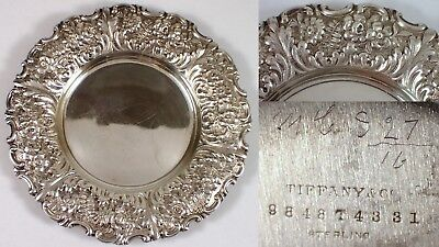 RARE Antique Vtg Tiffany & Co Sterling Trinket Butter Pat Nut Dish Pin Tray
