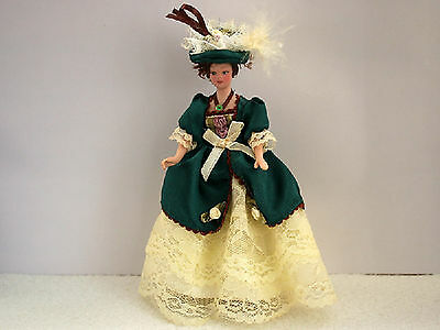 1:12 Scale Victorian Lady In A Green & Yellow Dress Dolls House Accessory H