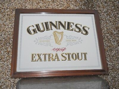 Vintage Guinness Extra Stout Pub Mirror Sign. Man Cave. Home Bar.