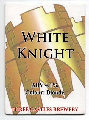 Beer pump clip front, Three Castles Brewery, WHITE KNIGHT, Colour: Blonde