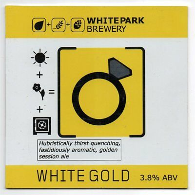 Beer pump clip front. White Park Brewery, WHITE G0LD, Golden sesession ale