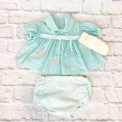 CRADLE TOGS Vintage Baby Dress & Matching Diaper Cover Socks Set NEW 0-3 Months