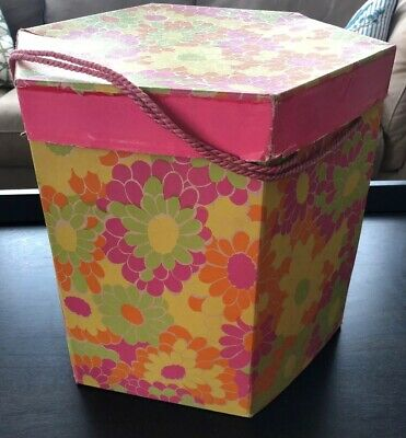 VTG Wig Hat Box Carrying Travel Case Pink Green Yellow Daisy Spring floral CUTE!