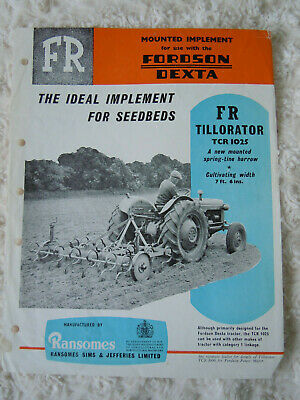 @Vintage Ransomes FR Tillorator for Use with Fordson Dexta Tractor Spec Sheet@