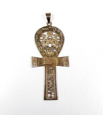 Sterling Silver Egyptian Ankh Amulet Pendant Cut Out Cartouche Scarab Vintage