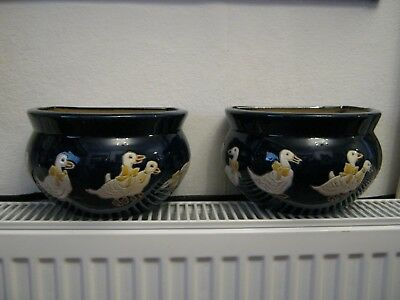 Pair of Lovely Ceramic Pottery Wall Pockets / Planters/ Trough with Ducks!
