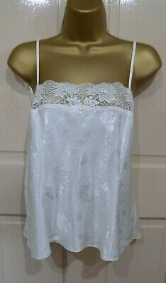 Vtg St Michael Beautiful Cream Slithery Glossy Satin Camisole Top Pretty Sz12-14