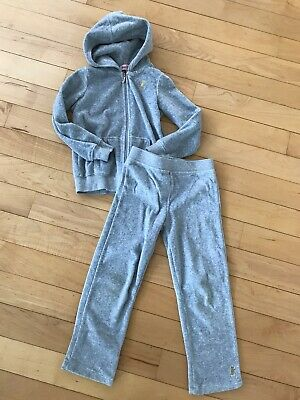 f4d6f123c5 Juicy Couture Girls Velour Set Jacket Pants Gray Tracksuit Sweatsuit Size 5