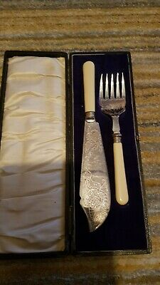 Antique Silver Fish Slice And Fork Cake Slice Hallmarked Bone Handle Boxed