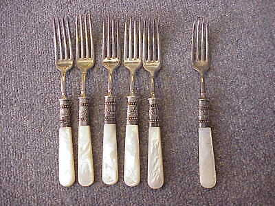 Lot of 6 VINTAGE/Antique Mother of Pearl & Sterling Forks 6 3/4""