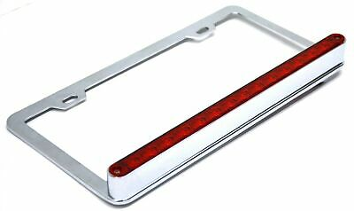 UP License Plate Frame Chrome 14 Red LEDs Red Lens 2 Hole Mount 3 Wire #39744
