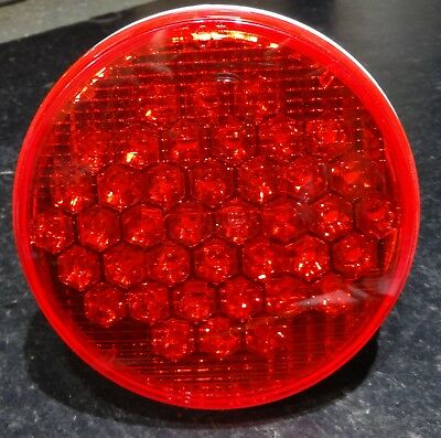"""LED light 40 red diode red lens 4"""" round stop tail turn Peterbilt Kenworth FL"""