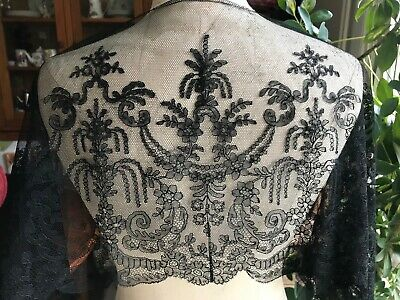 """Beautiful French Victorian CHANTILLY LACE EDGING 1.5 YARD by 11"""" flowers, grapes"""