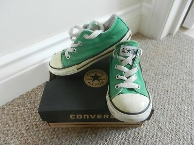 1670dcea6371 Boys Converse All Star Bright Green Canvas Pumps Shoes Lace Ups Size 9 Used