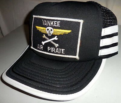 d310589780c Vintage USA AIR FORCE YANKEE AIR PIRATE PATCH MESH Snapback Trucker Hat 3  STRIPE