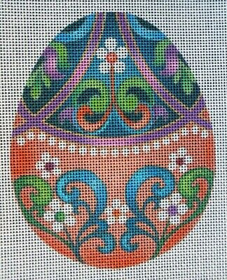HP Needlepoint Canvas: Colorful Daisy Easter Egg