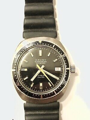 Cauny Submarine Rare Vintage 1965 Divers Wristwatch, 210 Meters