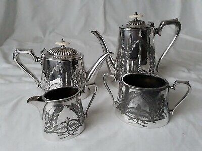 Antique Fenton Bros Silver Plated 4 Piece Tea / Coffee Service Set