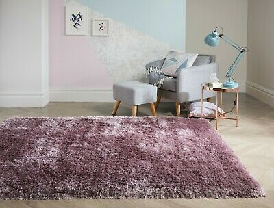 SMALL - LARGE SOFT CHUNKY THICK 8cm LONG HEAVY PILE SHAGGY MAUVE LILAC PEARL RUG