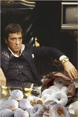 SCARFACE eating white powdered donuts HUMOROUS PHOTO POSTER al pacino 24X36