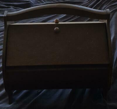 Fabulous Vintage Wooden Sewing Box - COLLECTIBLE BOX - NEEDS SMALL REPAIR