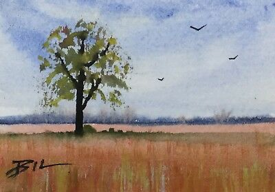 ACEO ATC original art miniature painting by Bill Lupton - Straw Field