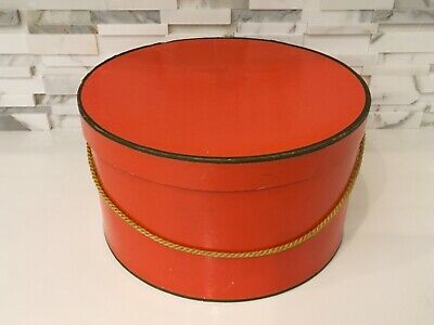 Vintage Round Hat Box, 1960's, Orange Cardboard with Gold Rope Handle