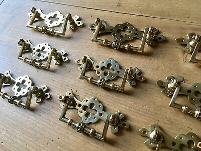 Set 6 Arts And Crafts Antique Drawer Handle Pulls Aesthetic Movement Solid Brass