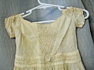 """Antique Victorian Cutout Lace Dress For 36""""  Bisque Head French German Doll"""