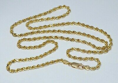 """Heavy Solid 14K Yellow Gold 24"""" 19g Diamond Cut Men's 3mm Chain Rope Necklace"""
